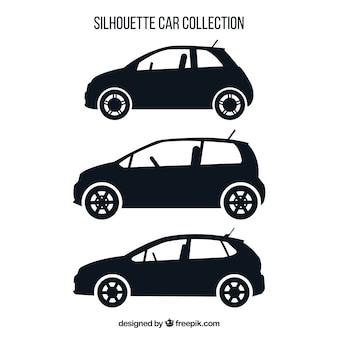 Ensemble de trois silhouettes de voiture