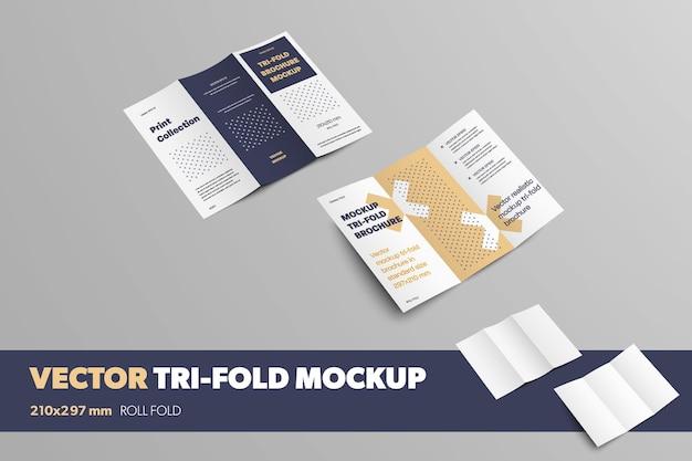 Ensemble de trois volets ouverts sur fond gris, vue avant et arrière, avec des ombres réalistes. maquette de brochures vectorielles avec motif abstrait. modèle de livret pour la conception de présentation.