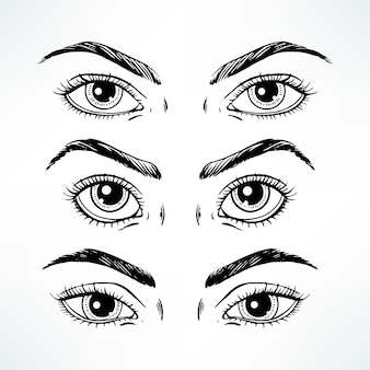 Ensemble de trois yeux de femmes différentes. illustration dessinée à la main