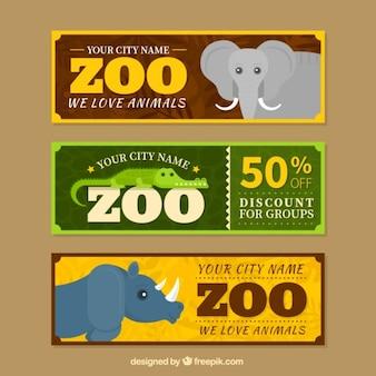 Ensemble de trois zoo vente bannières