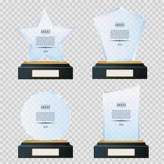 Ensemble de trophée en plaque de trophée en verre.