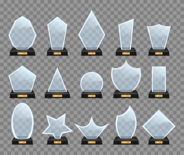 Ensemble de trophée en verre