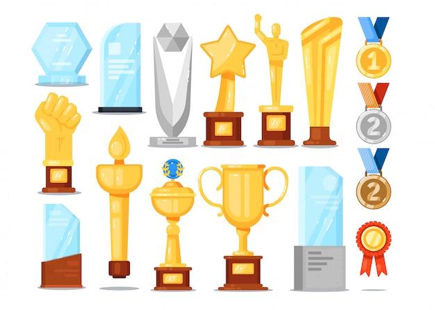 Ensemble de trophées de récompense. coupe d'or, médaille, étoile