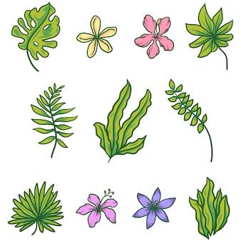 Ensemble tropical avec fowers et feuilles de palmier, illustration d'art en ligne dessinée à la main