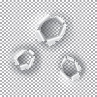 Ensemble de trous en lambeaux. papier déchiré sur fond transparent. illustration vectorielle. papier déchiré.