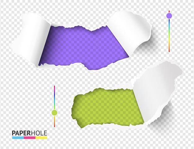 Ensemble de trous verts et violets lumineux dans du papier déchiré sur fond transparent abstrait