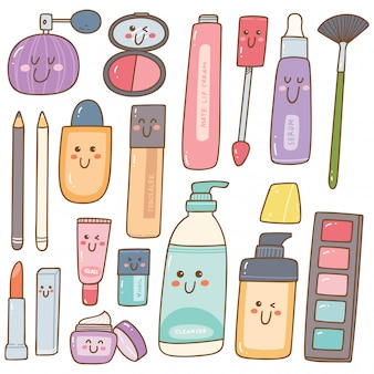 Ensemble de trousse de maquillage kawaii doodles