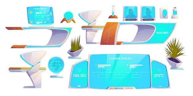 Ensemble de trucs futuristes en classe. fournitures modernes