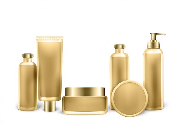Ensemble de tubes, bouteilles et vaporisateurs de couleur dorée