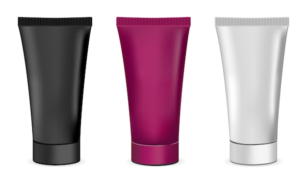 Ensemble de tubes de crème cosmétique. noir, blanc et couleur.