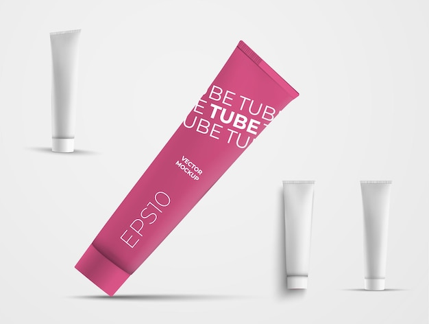 Ensemble de tubes en plastique vectoriels pour produits de soins de la peau. modèle de package sur fond blanc avec des ombres. maquette de boîtes pour la présentation du design et de la publicité dans la boutique en ligne.
