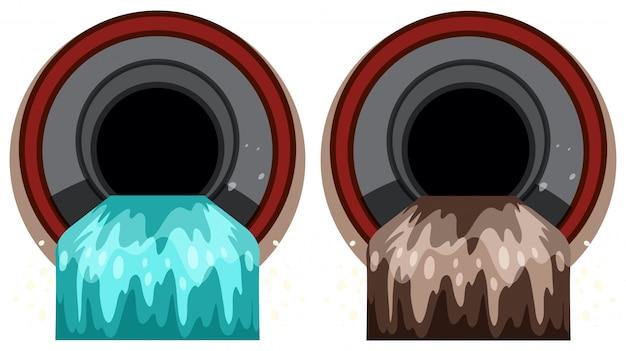 Un ensemble de tuyau d'égout avec la pollution