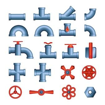 Ensemble de tuyaux et vannes - vector clipart isolé moderne sur fond blanc. détails pour travaux de plomberie. tubes d'eau, connecteurs. couleurs bleu et rouge