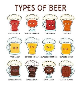 Ensemble de types amusants de personnages de bière