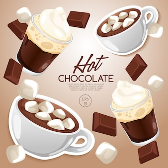 Ensemble de types de café: chocolat chaud: illustration