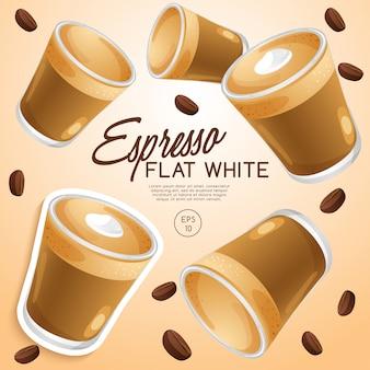 Ensemble de types de café: espresso flat white: illustration