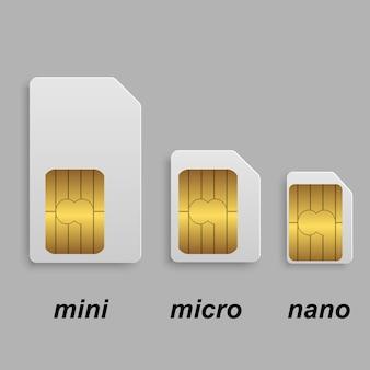Ensemble de types de cartes sim mobiles