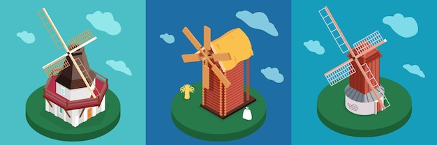 Ensemble de types de moulins à vent