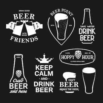 Ensemble de typographie lié à la bière. illustration de lettrage vintage de vecteur.