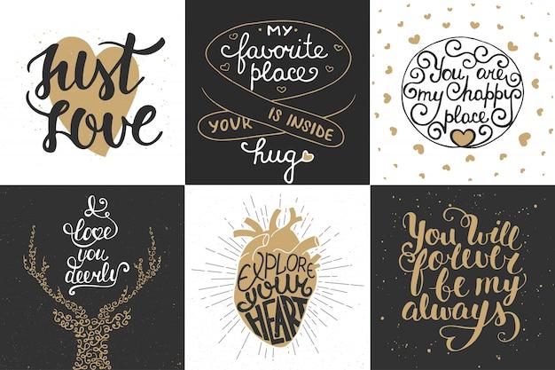 Ensemble de typographie unique dessiné à la main romantique