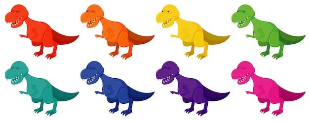 Ensemble de tyrannosaure rex en huit couleurs