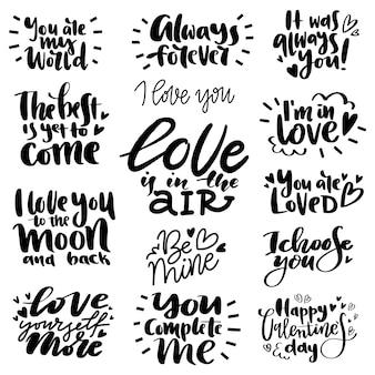 Un ensemble unique de lettres d'amour pour la saint valentin