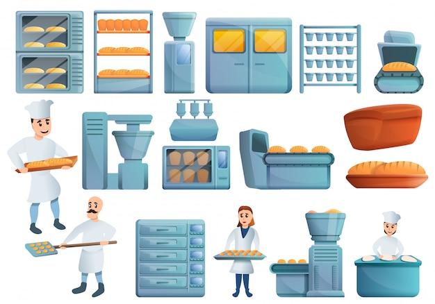 Ensemble d'usine de boulangerie, style cartoon