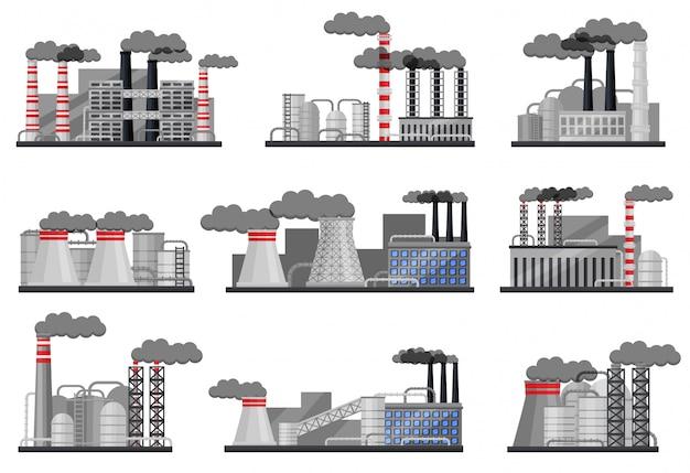 Ensemble d'usines de fabrication avec des bâtiments, des tuyaux de fumage et des citernes en acier. architecture industrielle