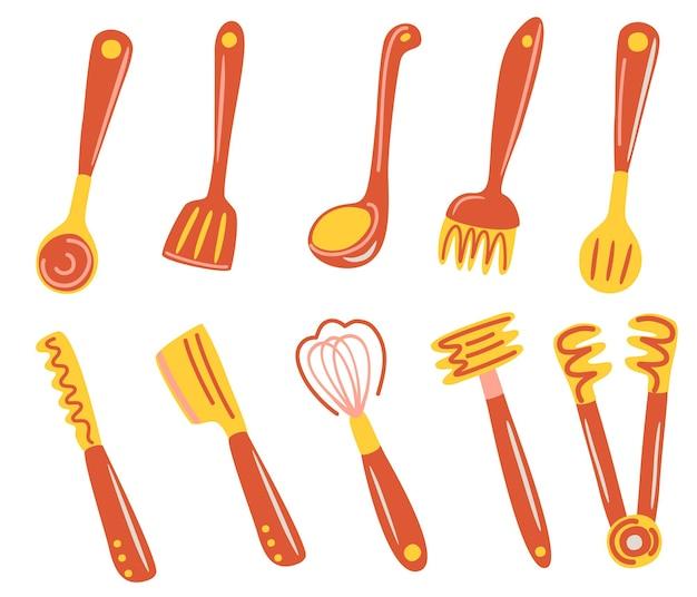 Ensemble d'ustensiles de cuisine beaucoup d'ustensiles de cuisine couverts spatule fouet pince fourchette louche écumoire