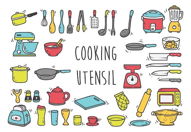Ensemble d'ustensiles de cuisine doodles isolé sur fond blanc