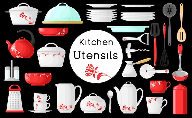 Ensemble d'ustensiles de cuisine isolé sur fond noir. illustration. ustensiles de cuisine.
