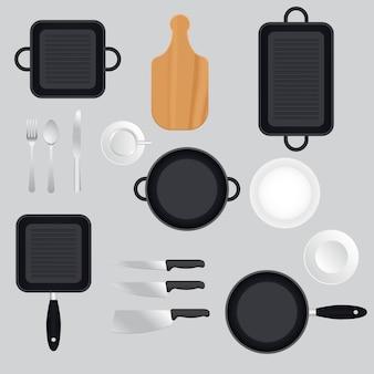 Ensemble d'ustensiles de cuisine isolé