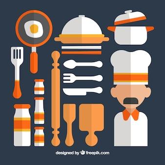 Ensemble d'ustensiles de cuisine pour le chef