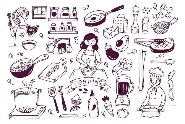 Ensemble d'ustensiles et ingrédients de cuisine doodle