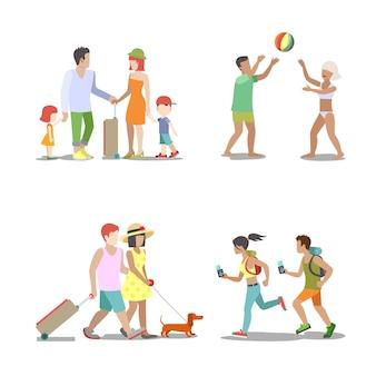 Ensemble de vacances en famille. homme femme enfants vont s'amuser illustration de vacances intéressantes. collection de style de vie touristique itinérante.