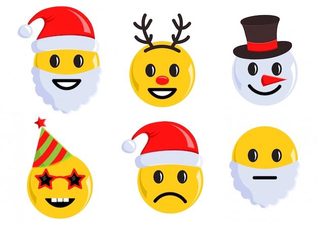 Ensemble de vacances d'icônes d'émoticônes de noël. illustration vectorielle