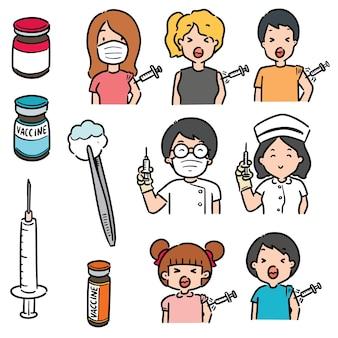 Ensemble de vaccin isolé sur blanc