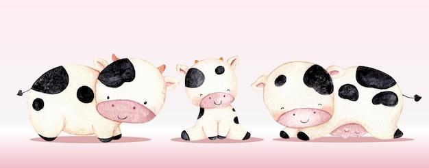 Ensemble de vache mignon aquarelle animaux de ferme