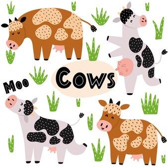 Ensemble de vaches mignonnes. collection de cliparts avec des animaux de ferme drôles. personnages de vache isolés dans des poses différentes. illustration