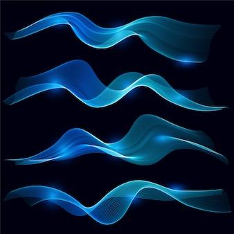 Ensemble de vague de fumée bleue dans l'obscurité