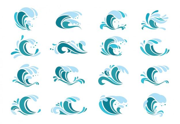 Ensemble de vagues bleues