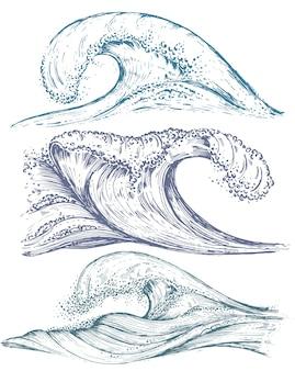 Ensemble de vagues de la mer dessinés à la main dans le style de croquis.