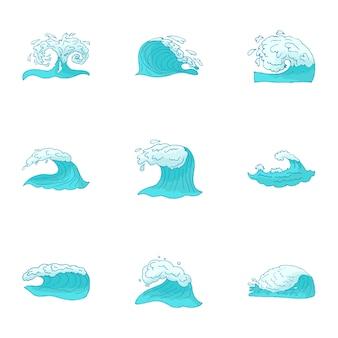 Ensemble de vagues, style cartoon