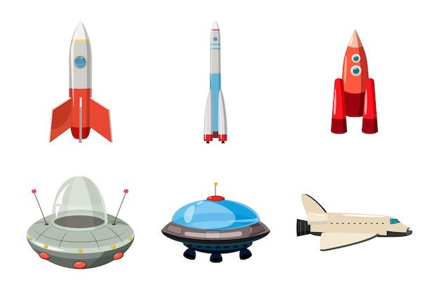 Ensemble de vaisseau spatial. jeu de dessin animé de vaisseau spatial