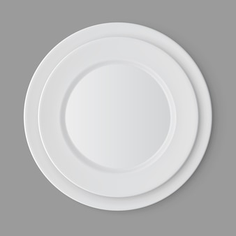 Ensemble de vaisselle d'assiettes vides blanches isolées, vue du dessus