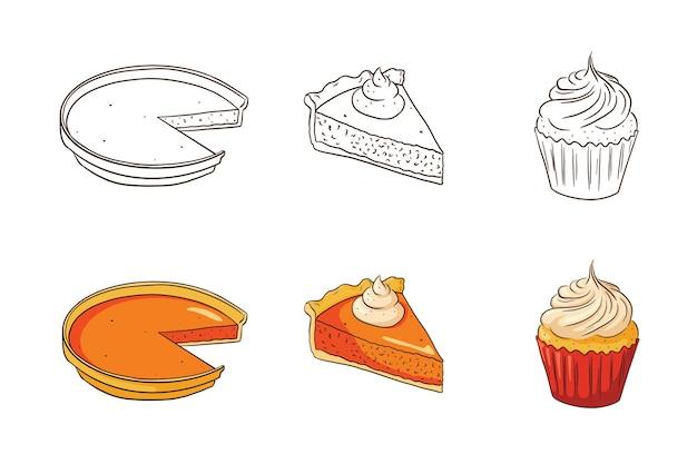 Ensemble de vaisselle à la citrouille de thanksgiving. collection traditionnelle de nourriture de vacances d'automne. tartes à la citrouille sucrées et illustration de cupcake pour la décoration d'autocollants, d'invitations, de menus et de cartes de voeux. vecteur premium
