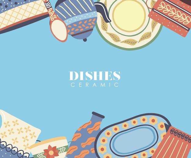 Ensemble de vaisselle en porcelaine cadre de vaisselle