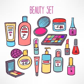 Ensemble avec une variété de cosmétiques et de produits pour les soins du corps. illustration dessinée à la main - 2