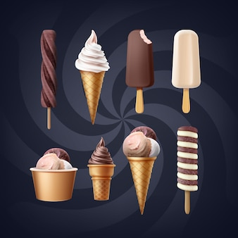 Ensemble de variété de crème glacée isolée
