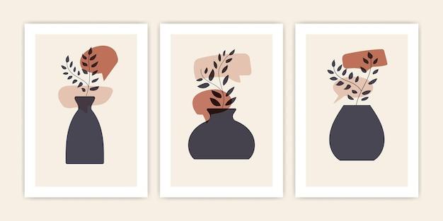 Ensemble de vase abstrait avec plante avec forme de chat bulle. conception de couverture de vecteur.